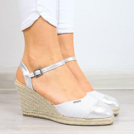 Sandały damskie espadryle na koturnie srebrne Big Star AA274588