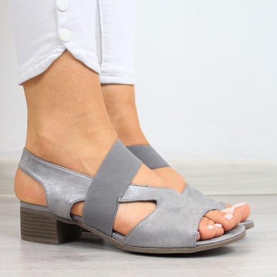 Sandały damskie na gumkę szare Jezzi