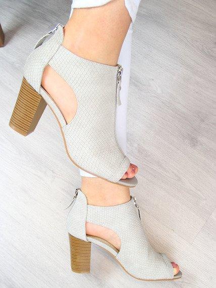 Sandały damskie na zamek szare Jezzi