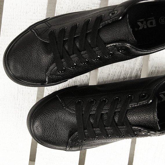 Czarne tenisówki sznurowane eko skóra DK