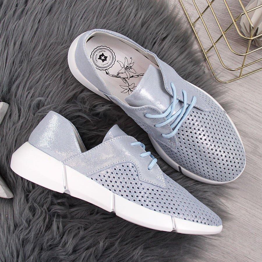 Buty sportowe damskie skórzane ażurowe niebieskie Jezzi