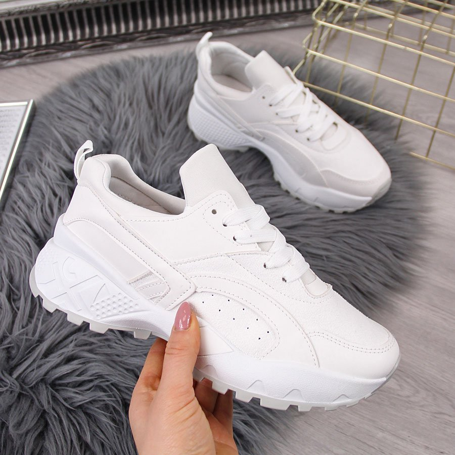 Buty sportowe damskie wysoka podeszwa białe McKeylor
