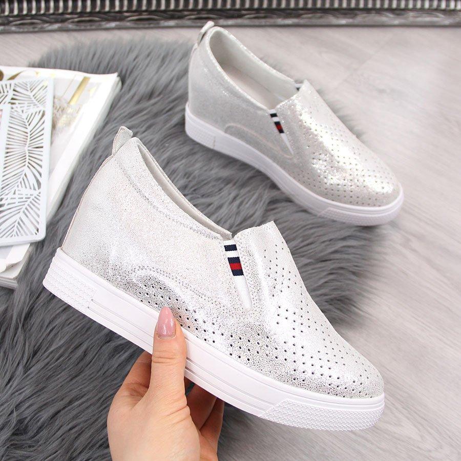 Sneakersy skórzane damskie na koturnie ażurowe srebrne Filippo