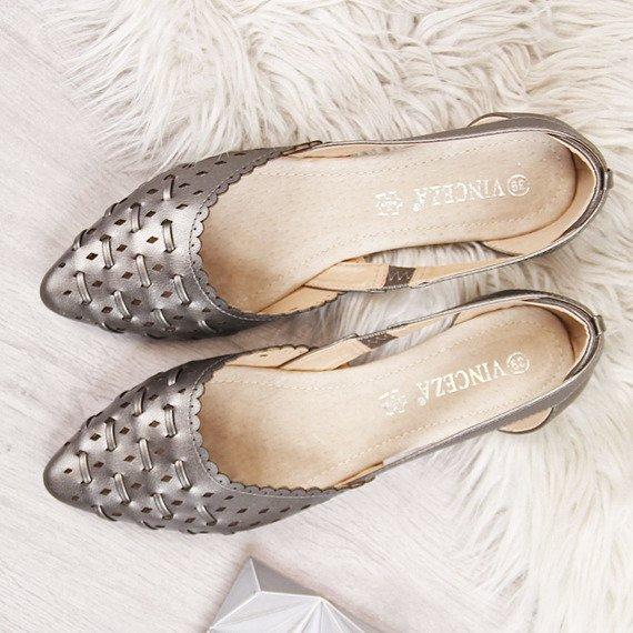 Baleriny damskie ażurowe plecione srebrne Vinceza