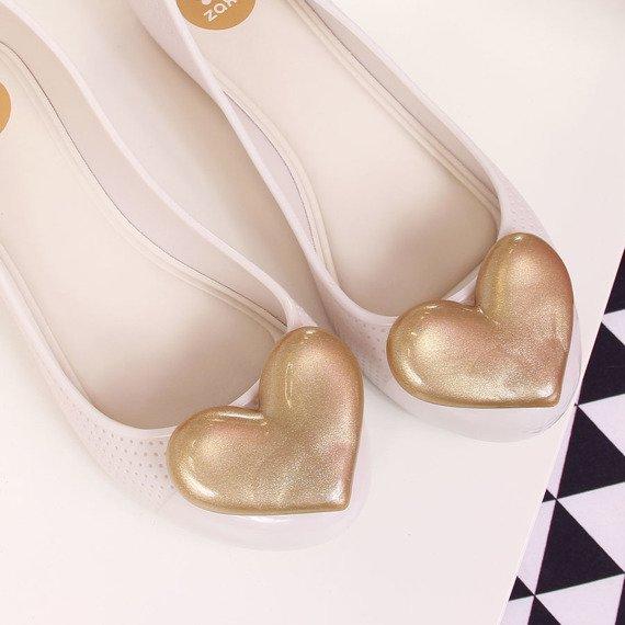Baleriny gumowe z sercem beżowe Zaxy New Pop Beauty