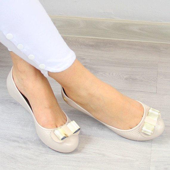 Beżowe baleriny gumowe z kokardką ZAXY LACE FEM 82261