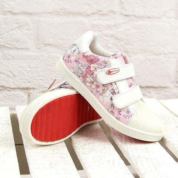 Biało różowe półbuty dziewczęce w kwiatki American Club
