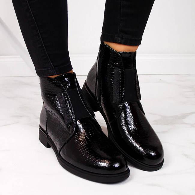 Botki damskie lakierowane kroko ocieplane czarne Sergio Leone