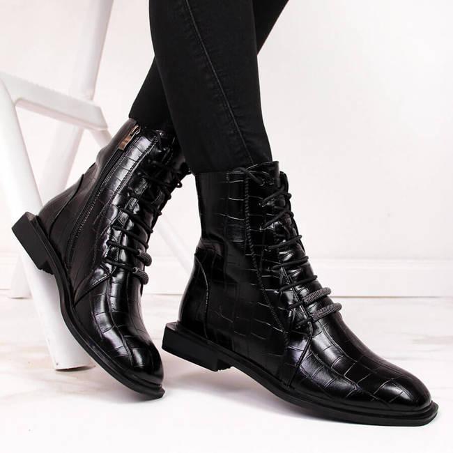 Botki damskie ocieplane kroko czarne D&A