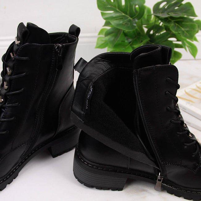 Botki damskie workery z ozdobami czarne Vinceza