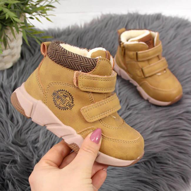 Buty chłopięce zimowe na rzepy camel American Club