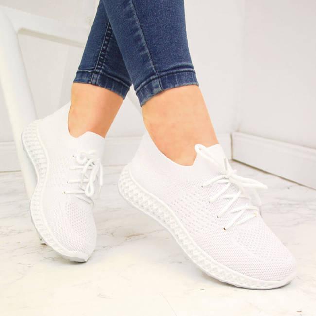 Buty sportowe damskie skarpetkowe białe McKeylor