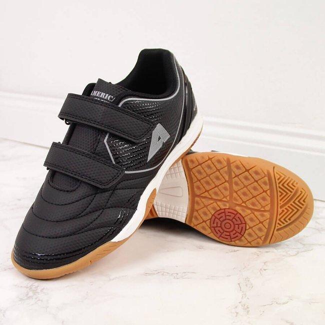 Buty sportowe dziecięce halówki na rzep czarne American Club