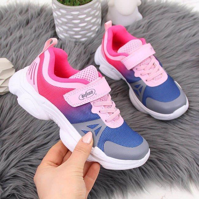 Buty sportowe dziewczęce rzep ombre niebiesko różowe Befado
