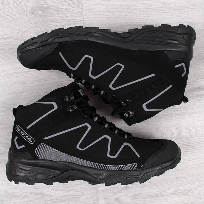 Buty trekkingowe męskie wodoodporne czarne DK