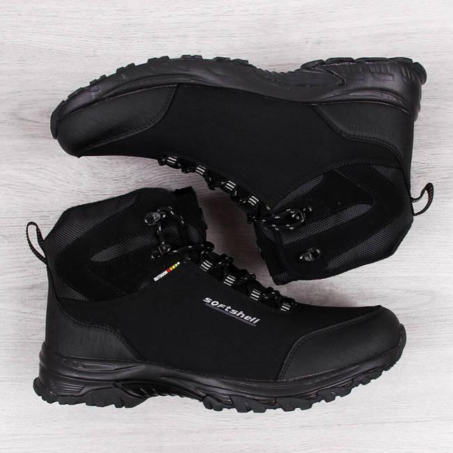 Buty trekkingowe męskie wodoodporne zimowe czarne American Club