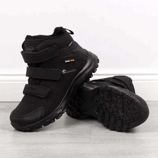 Buty trekkingowe wodoodporne na rzep czarne American Club