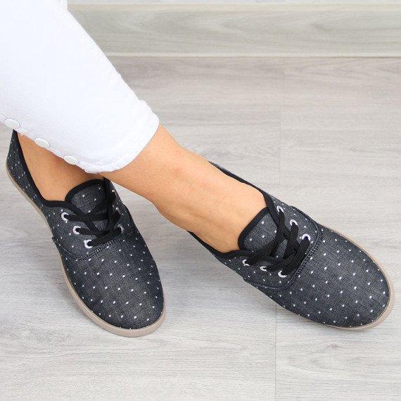 Czarne jeansowe tenisówki damskie w kropki Wishot