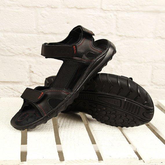 Czarne sandały męskie skórzane Łukpol 832