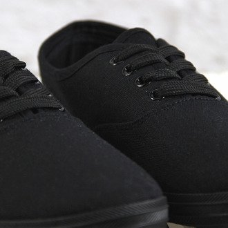 Czarne tenisówki materiałowe sznurowane Wishot