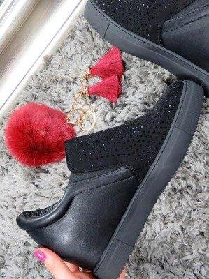 Czarne trampki na koturnie z kryształkami Lu Boo