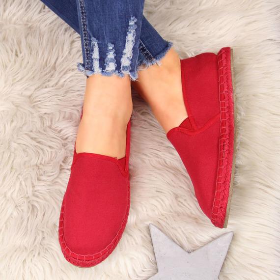 Espadryle damskie tekstylne slip on czerwone Big Star