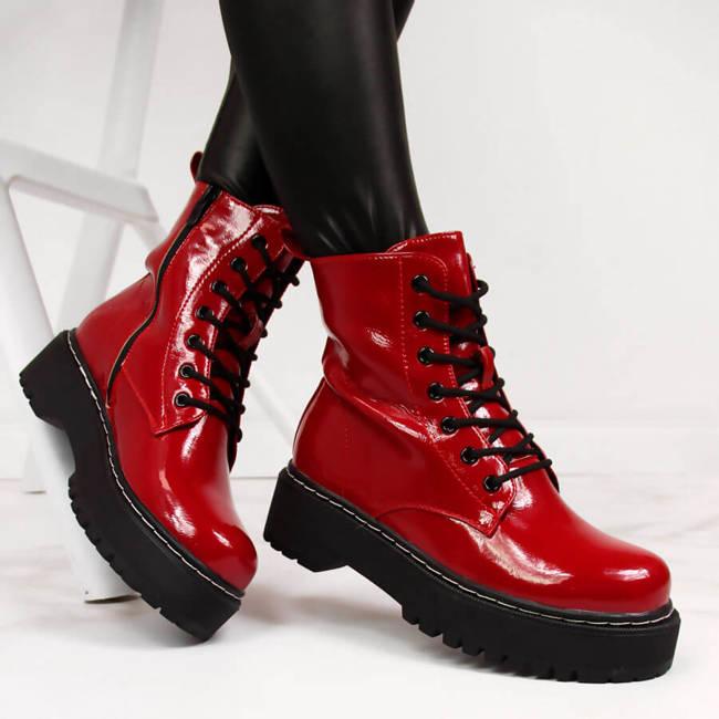 Glany damskie na platformie ocieplane czerwone eVento