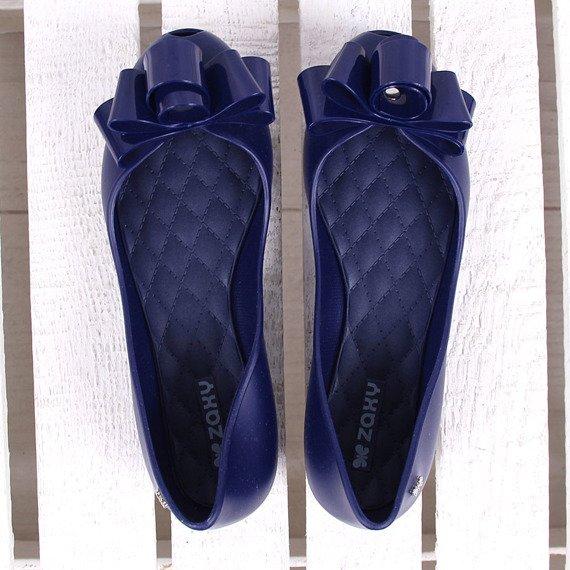 Granatowe baleriny gumowe z kokardką ZAXY GLAM FEM 82259