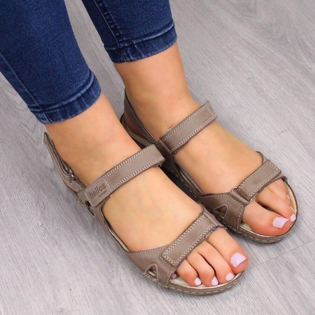 HELIOS 205 skórzane beżowe sandały komfortowe