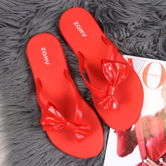 Japonki damskie gumowe z kokardką czerwone Zaxy