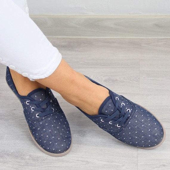 Jeansowe tenisówki damskie w kropki Wishot