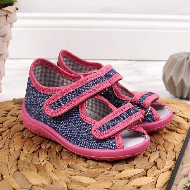 Kapcie dziewczęce sandałki domowe granatowo różowe Nazo