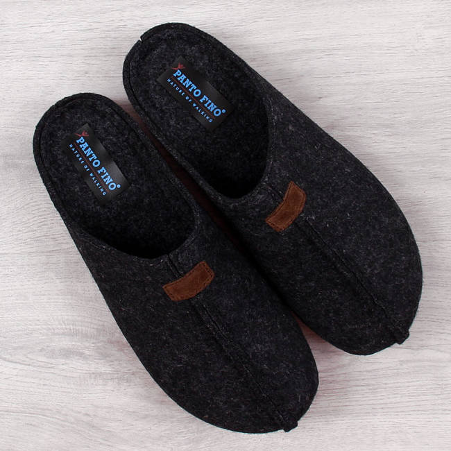 Kapcie męskie filcowe pantofle czarne Panto Fino II167010