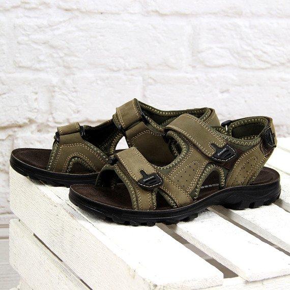 Khaki sandały chłopięce skórzane na rzepy Hasby