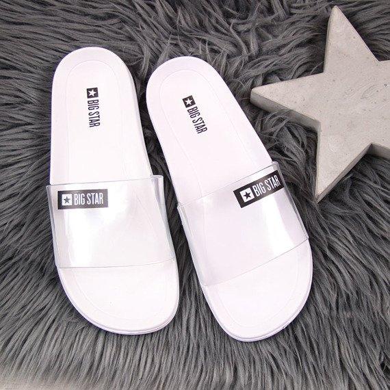 Klapki damskie plażowe gumowe białe Big Star DD274A258
