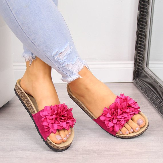 Klapki damskie z kwiatkami różowe Vinceza