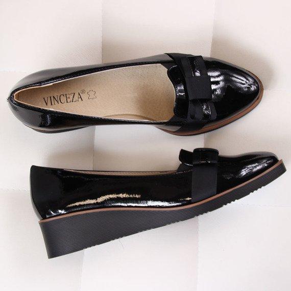 Lordsy damskie na koturnie lakierowane czarne Vinceza