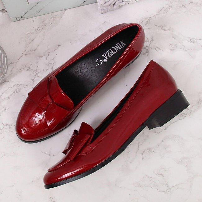 Półbuty damskie lakierowane z kokardką czerwone Vinceza