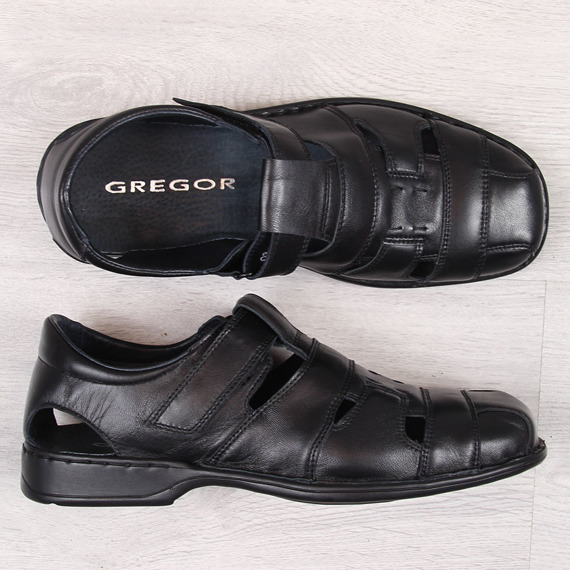 Półbuty letnie męskie skórzane czarne Gregor