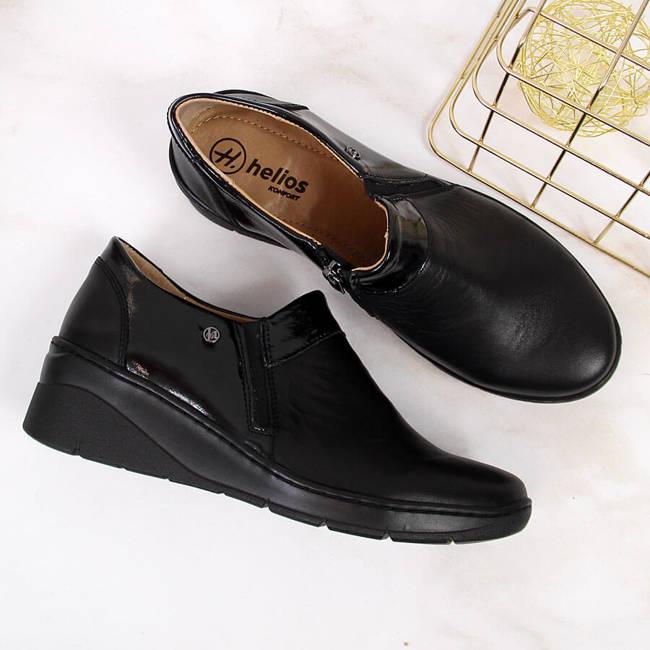 Półbuty skórzane damskie komfortowe czarne Helios 348