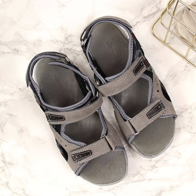 Sandały chłopięce moro na rzep szare Kornecki 6191
