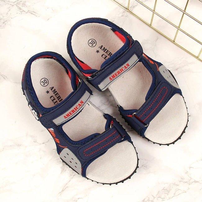 Sandały chłopięce na rzepy granatowe American Club