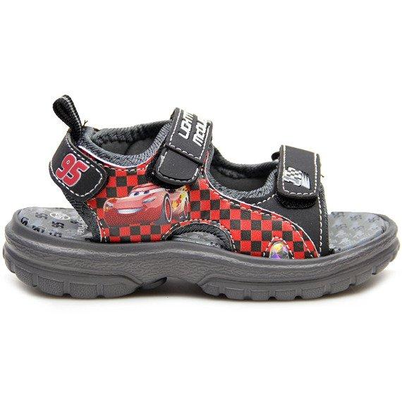 Sandały chłopięce na rzepy szare Auta Zygzak McQueen