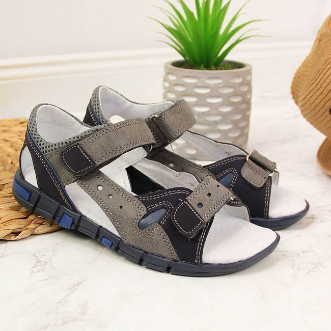 Sandały chłopięce na rzepy szare Kornecki 6186