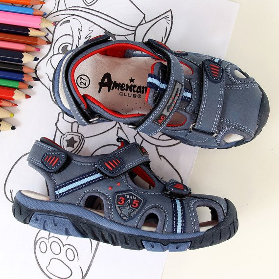 Sandały chłopięce zabudowane granatowe American Club