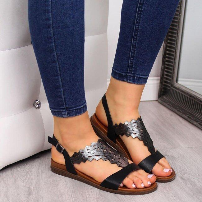 Sandały damskie ażurowe czarne Sergio Leone