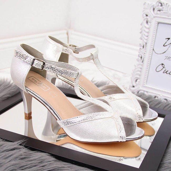 Sandały damskie eleganckie open toe srebrne Filippo