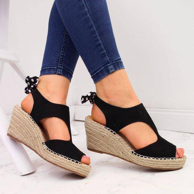 Sandały damskie espadryle na koturnie czarne Jezzi