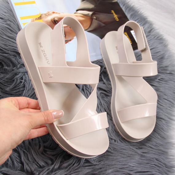Sandały damskie gumowe na rzepy beżowe Zaxy