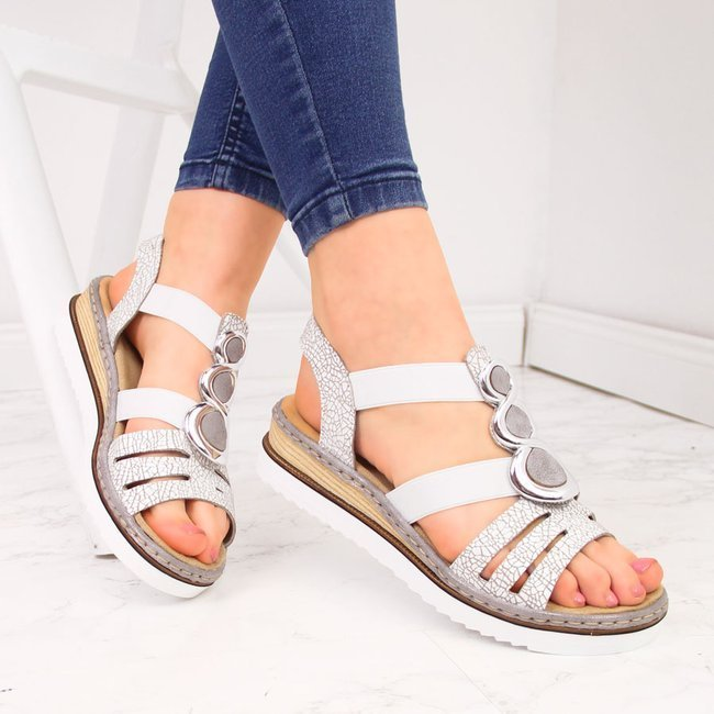 Sandały damskie na gumki białe Rieker 679L4
